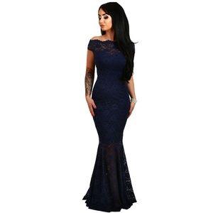 Dresses & Skirts - NEW Navy Bardot Lace Fishtail Maxi Dress Gown M